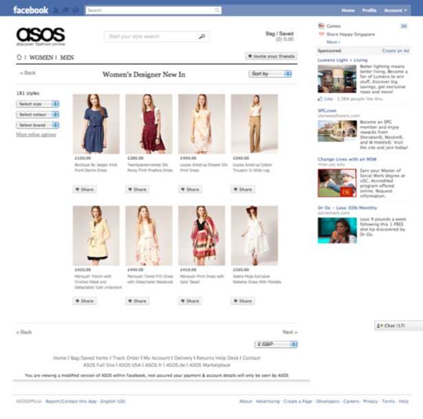 The ASOS Faccebook store houses a full ecommerce experience, including features such as filtering products, access to product details and pricing information, and shopping cart functionality