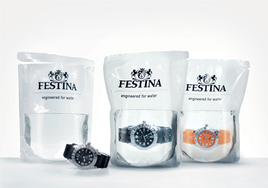 Packaging design: Festina water-filled packaging