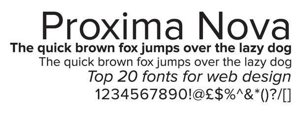 Web fonts: Proxima Nova