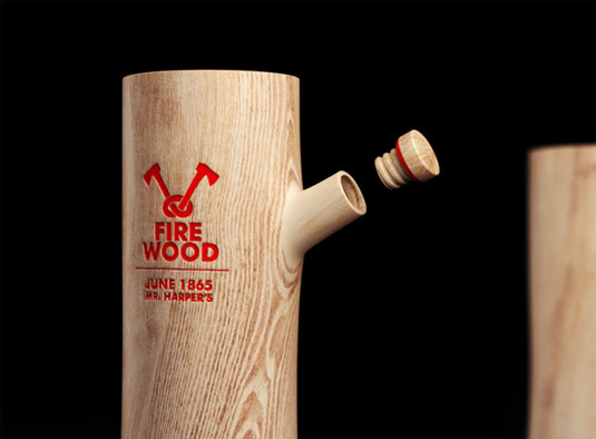 Firewood vodka bottle design