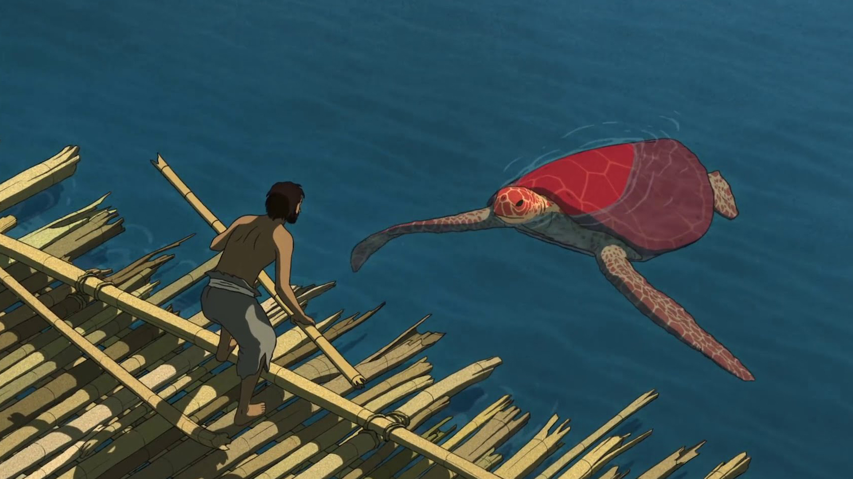 A still from the movie The Red Turtle