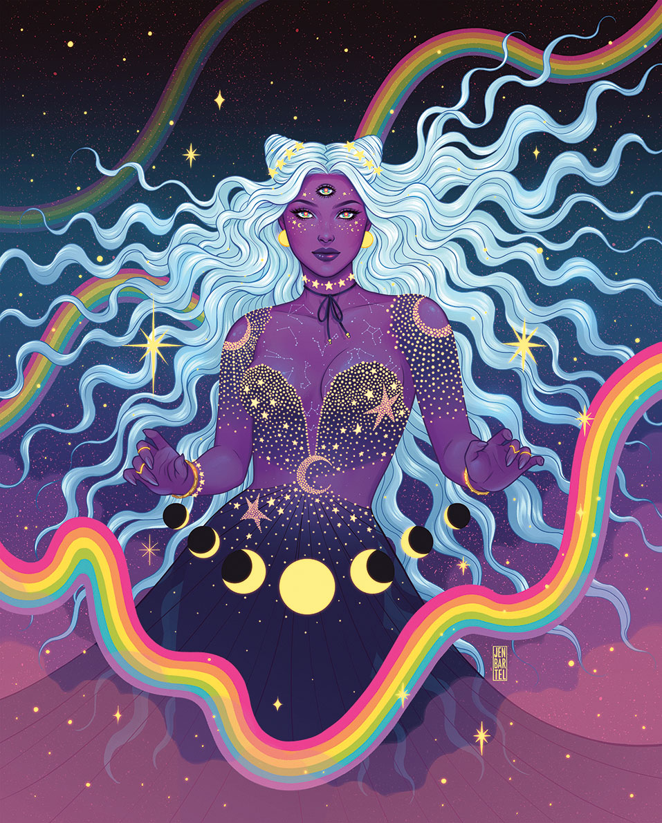 A woman in a celestial landscape with purple skin and three eyes