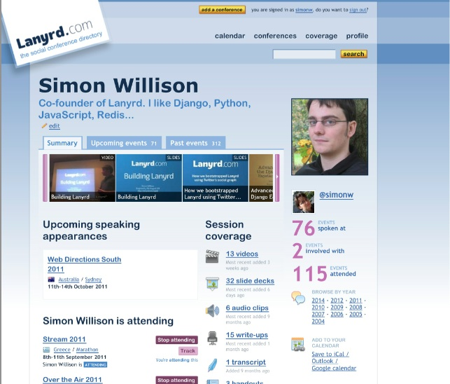 Simon Willison's Lanyrd profile
