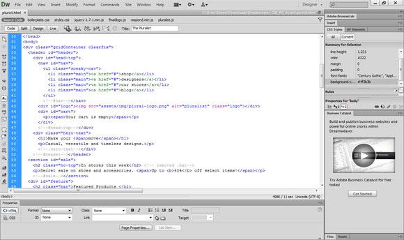 The Dreamweaver CS6 code editor