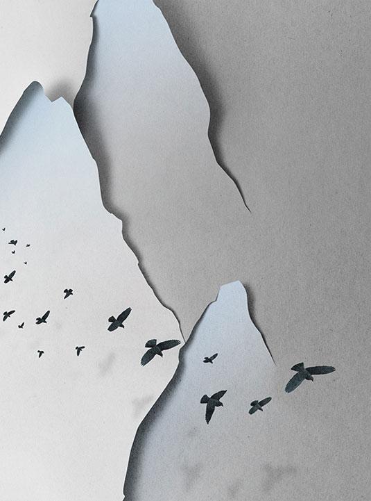 hand cut paper landscape