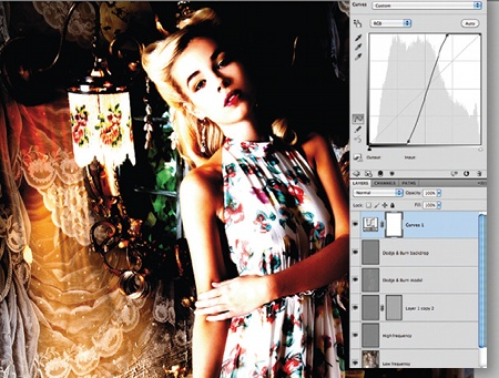 Retouch images with frequency separation: step 9
