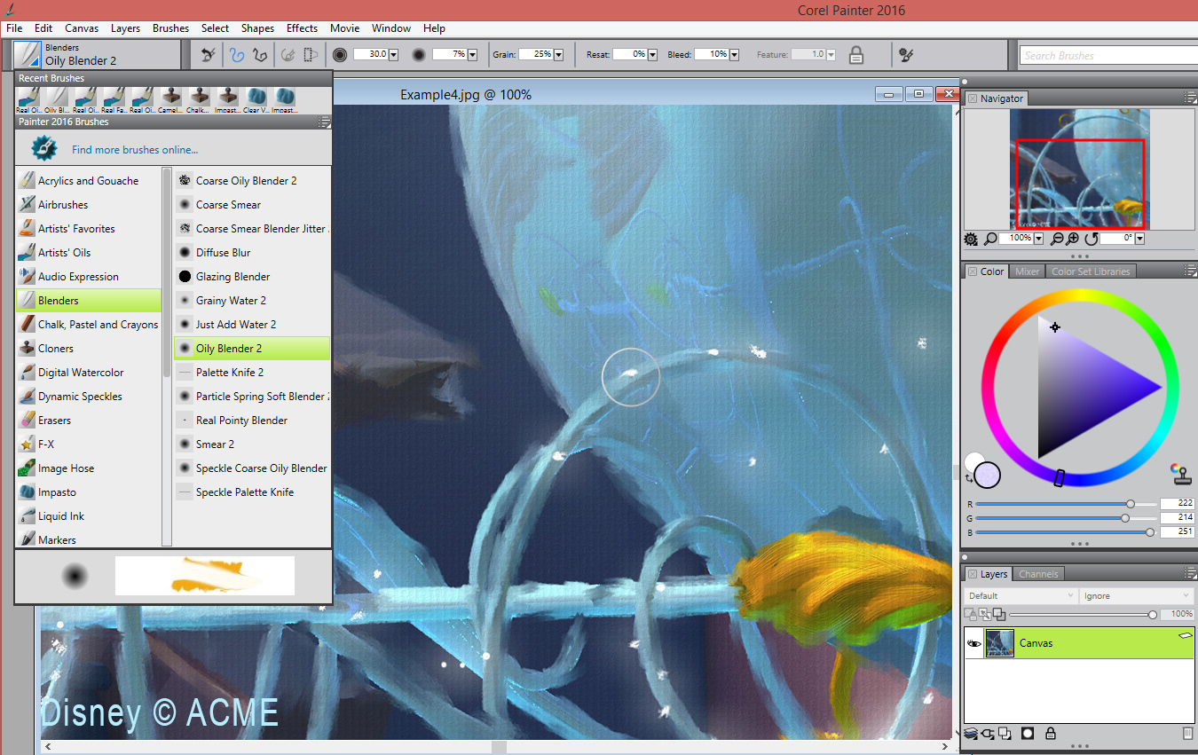 Corel Painter brush selection screen