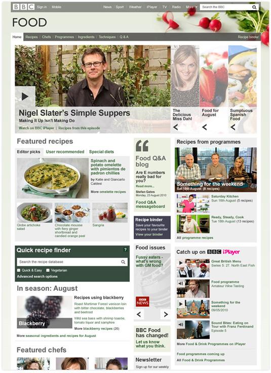 Win a web design award: BBC Food