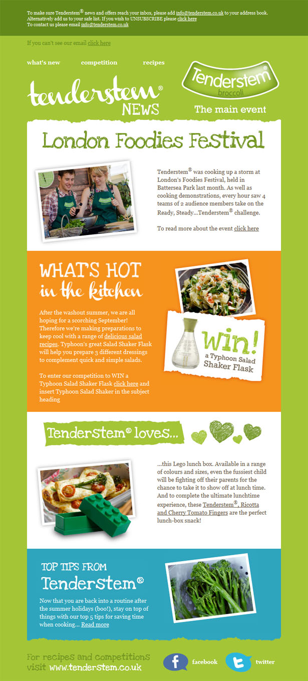 Email newsletter designs: Tenderstem