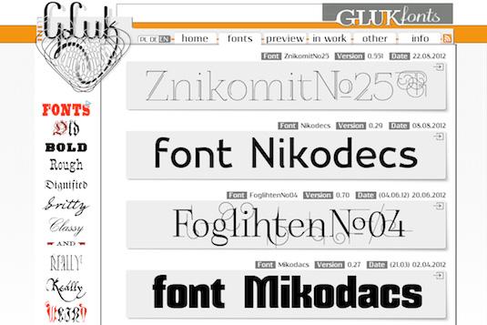 Download fonts: Glukfonts