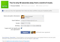 Facebook sign-up for Spotify