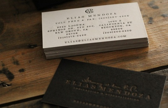 Letterpress business cards: Elias Mendoza