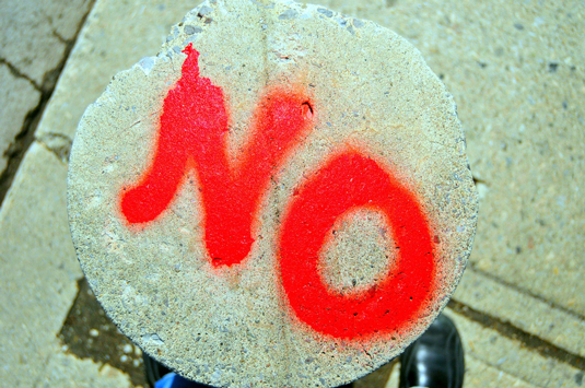 The word 'no' as graffiti