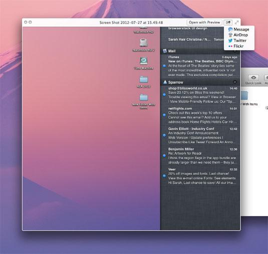 OS X 10.8 Mountain Lion: tighter integration with Safari