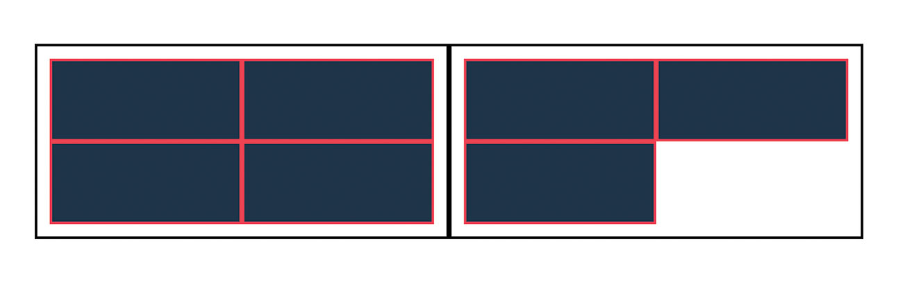 grid layouts with odd and even numbers