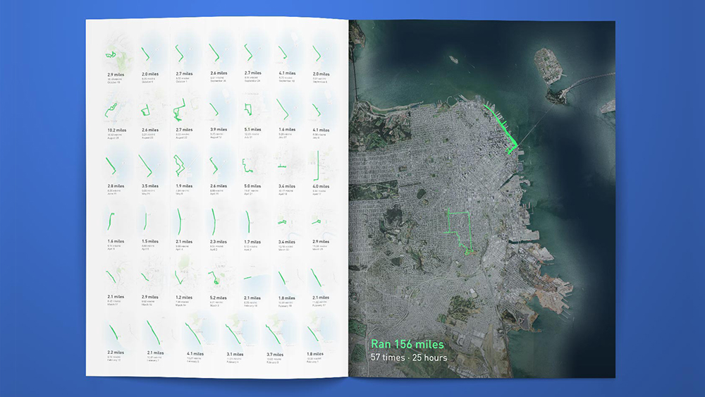 Annual report with satellite map and data graphic