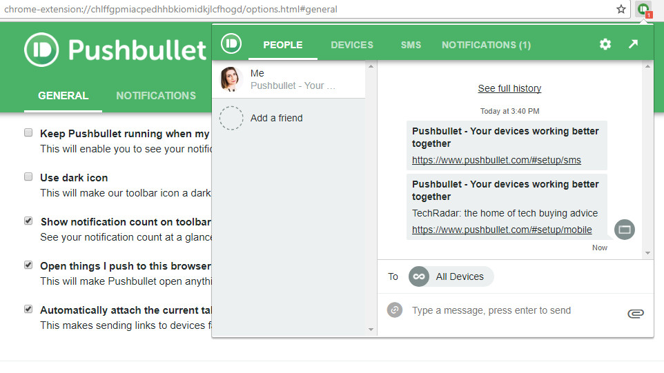 Pushbullet screen grab