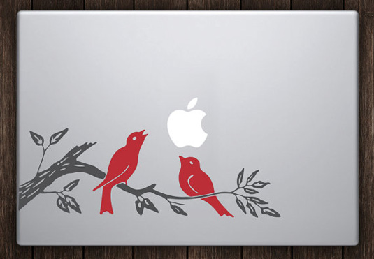 Birds on a branch mac decal