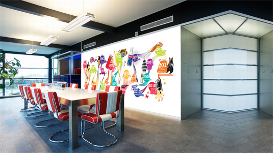 21 incredibly cool design office murals creative bloq for Wallpaper for office wall