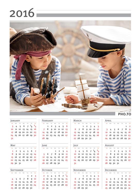 Photo template calendar