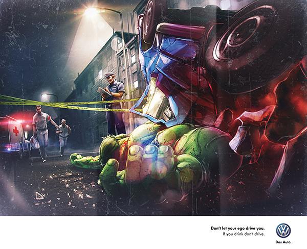 Drunk superhero print ads
