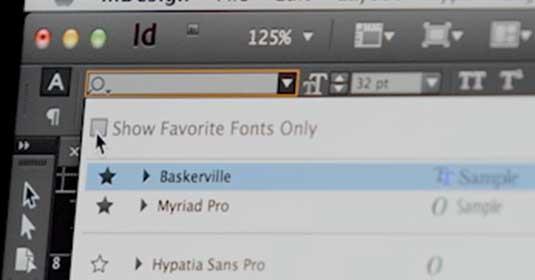 Adobe InDesign CC: Font favourites