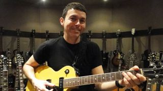 Richard Barone with his treasured Gibson Les Paul Special complete with TV Yellow finish in New York City