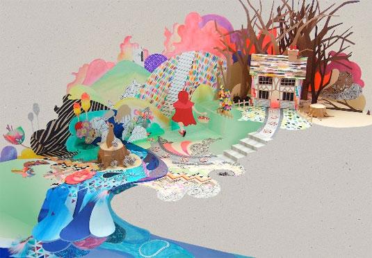 3D paper illustrations