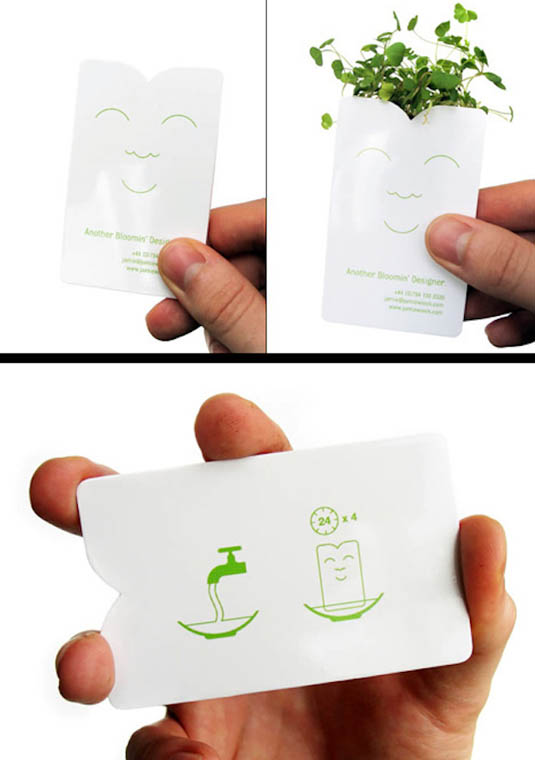 business card that includes a seed