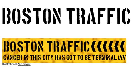 free stencil font: Boston Traffic