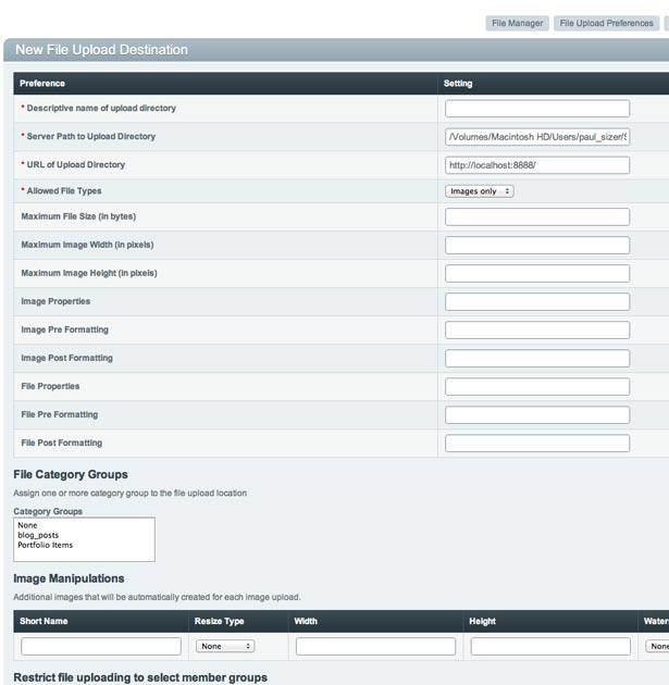 The New File Upload Destination dialog
