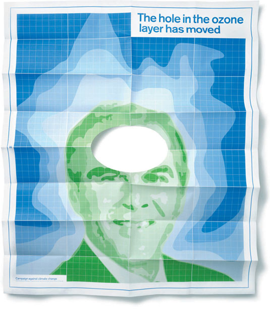 """""""The hole in the ozone layer has moved"""" poster by johnson banks"""