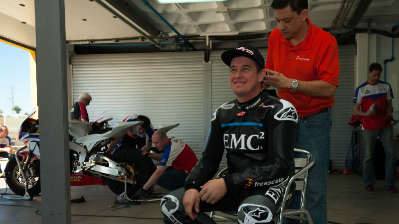 John McGuinness being fitted with sensors