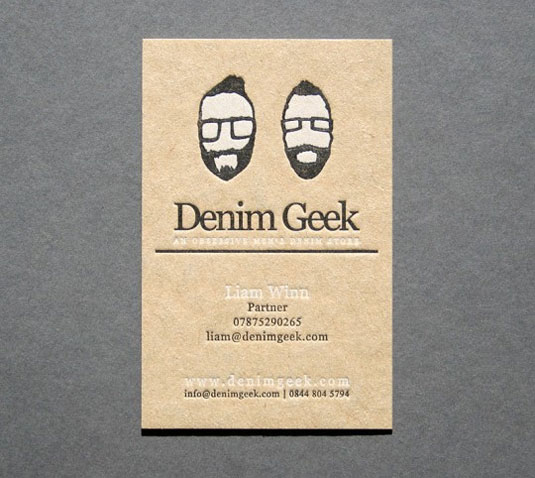 letterpress business cards: Denim Geek