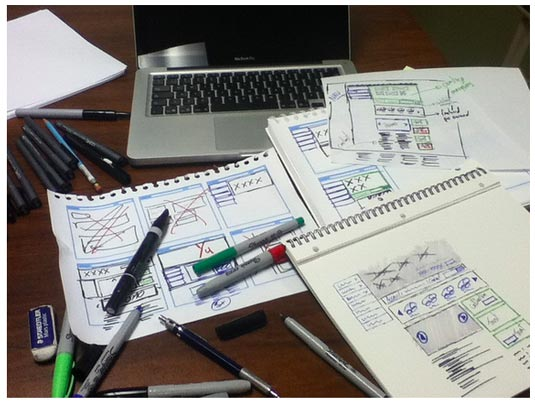 Photo of drawings and pens on desk