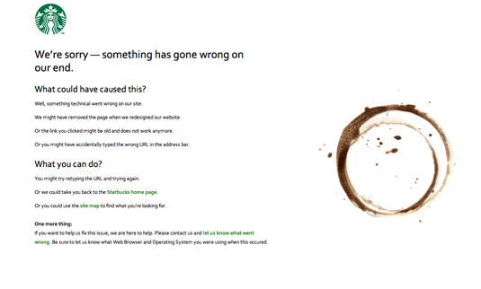 404 pages: Starbucks