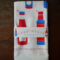 Crispin Finn - Know Your Condiments tea towel