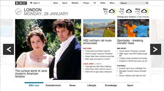 Design for screen: BBC website