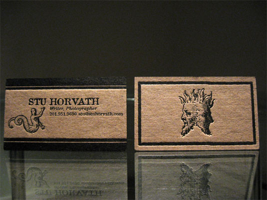 letterpress business cards: Stu Hovarth