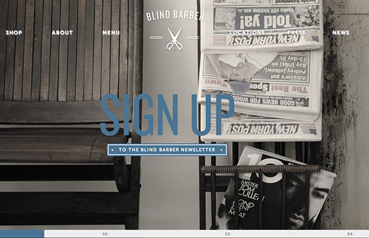 Sliders in web design: Blind Barber