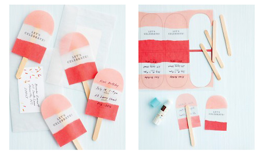 Invitation templates: ice-lolly invites