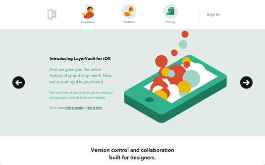Examples of flat design: Layervault