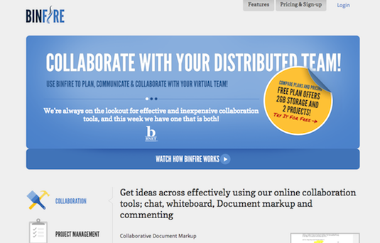 Online collaboration tools: BinFire