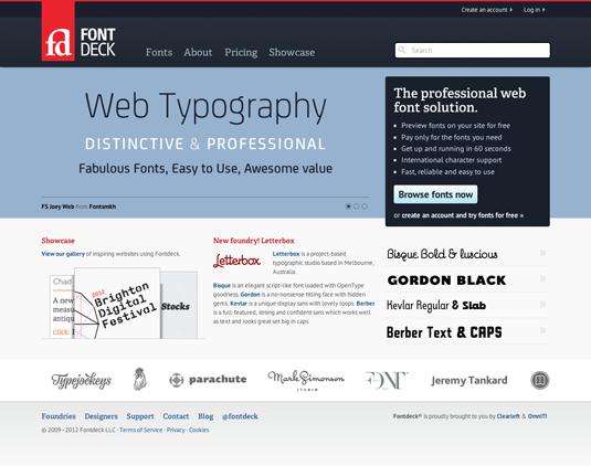 FontDeck homepage