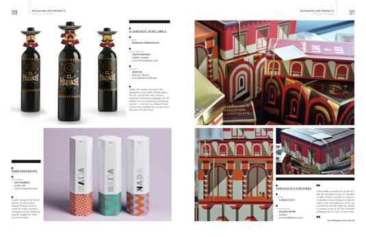 Spread from the Packaging section of the Illustration Annual