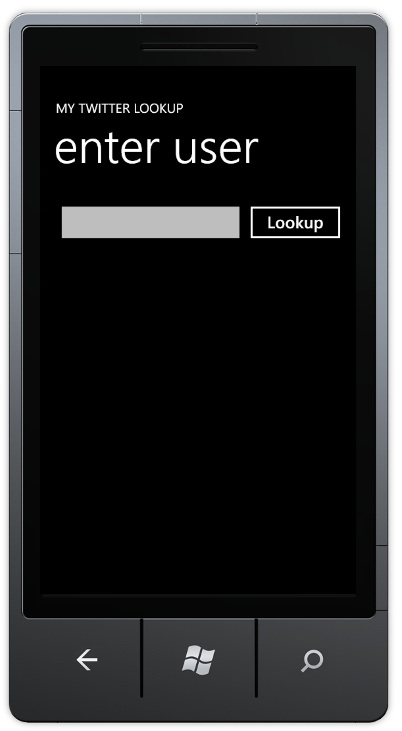 The Windows Phone application on first launch