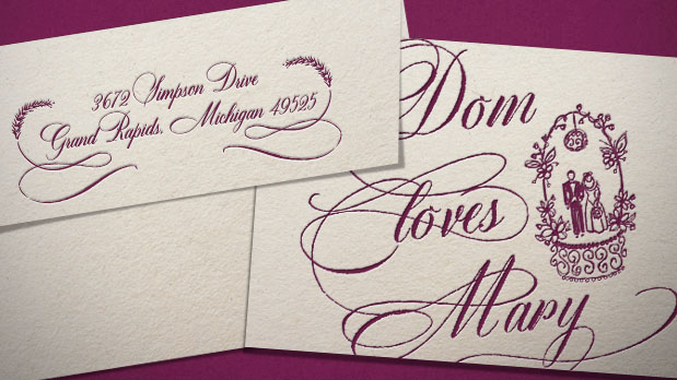 Calligraphy font: Dom Loves Mary