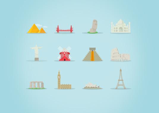 Free vectors: famous landmarks