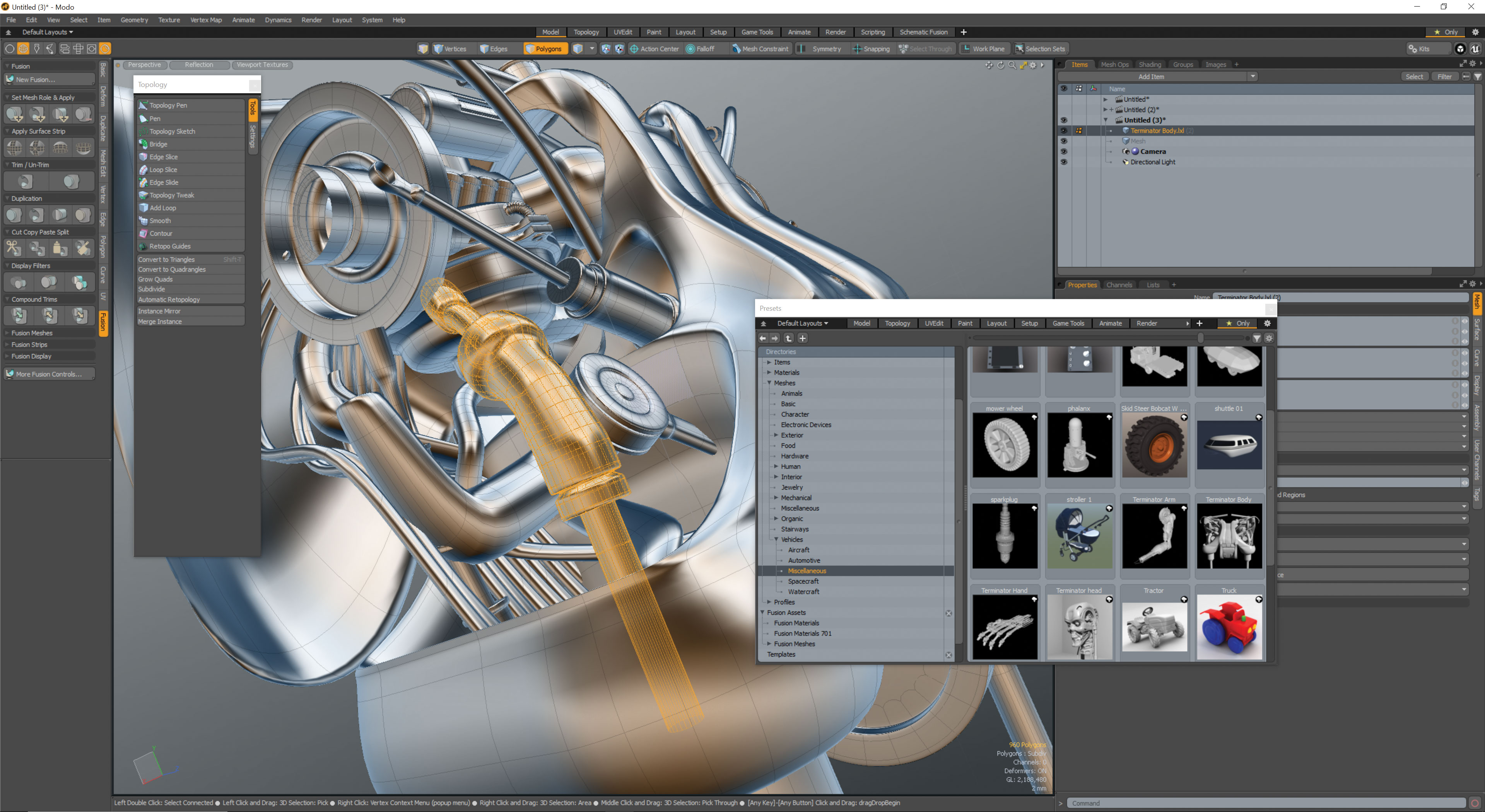 An engine being made in Modo 12