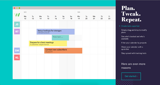 Screenshot of a calendar app